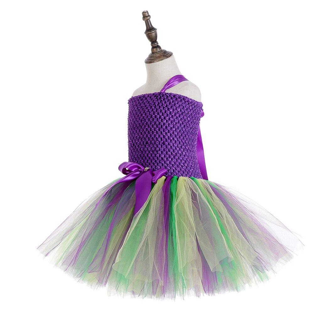 Girls Mardi Gras Party Dress Baby One Shoulder Knee Length Girls Dress 5 to 7 Years Teen Back to School Purple Solid Tutu Dress (2)