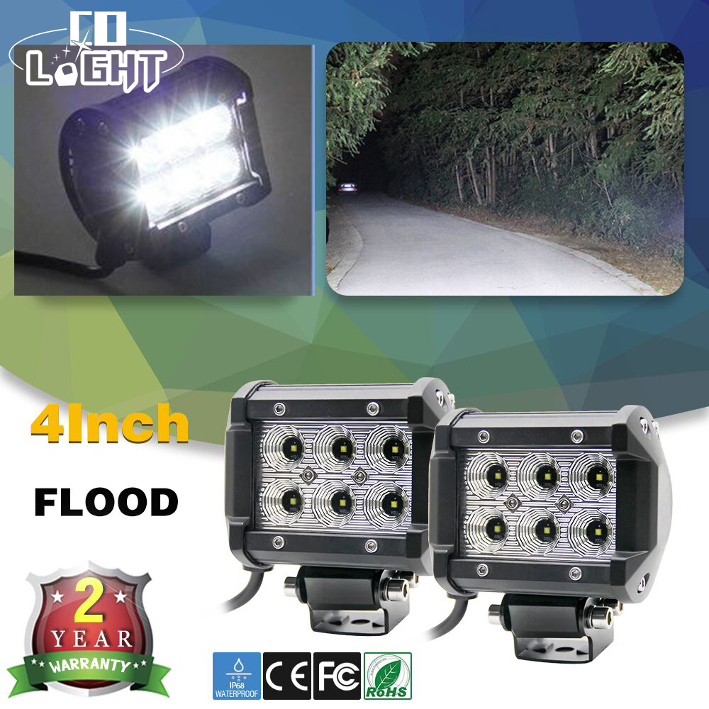 CO LIGHT 2Pcs Led Work Light 18W Led Light Bar Spot Flood Beam Led Chip 4 pulgadas Dc 12V 24V para 4X4 Offroad Car 4x4 Truck SUV ATV