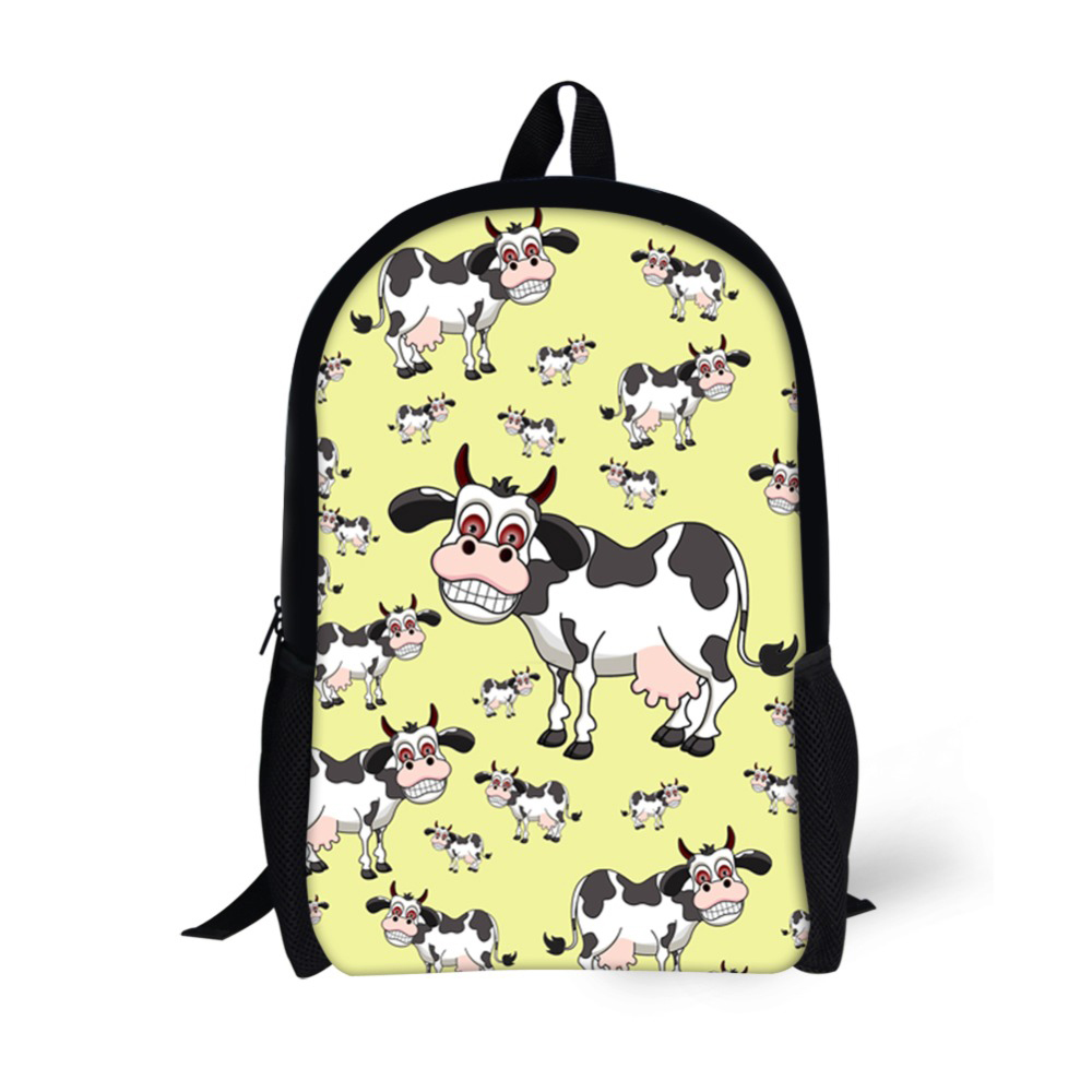 Polyester Children School Bags Backpack for Boys Girls Students Book Bag Cute Cow Dogs Printed Teenager Notebook Bag
