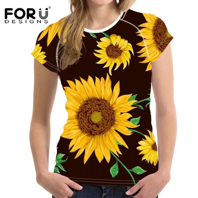 FORUDESIGNS Sunflower T shirt 3D Floral Rose Tee Shirts for Women Girls T Shirts Sweet Female ...
