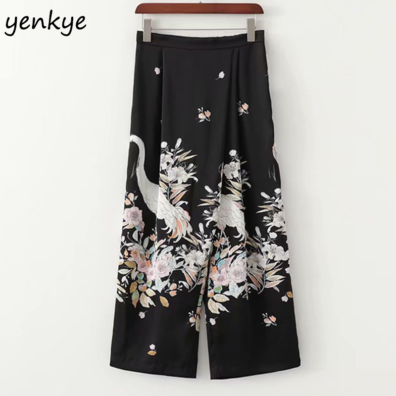2019 Women Floral Print Flowy   Wide     Leg     Pants   Female Vintage Black Elastic High Waist pantalones mujer Casual Loose Trousers