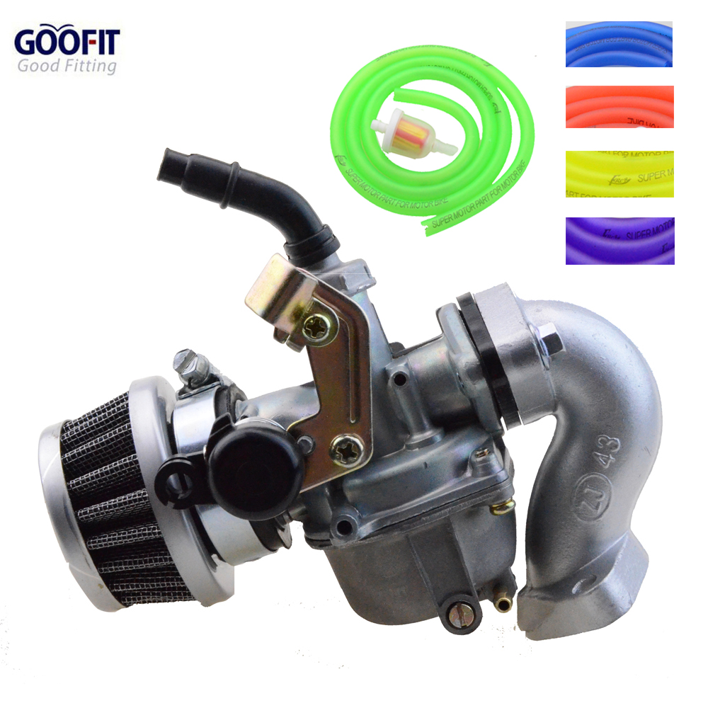 GOOFIT Racing 19mm Carburetor Air Filter Assembly Intake Tube Gasket Hose Bahan Api untuk 50cc-125cc ATV Dirt Taotao N090-230