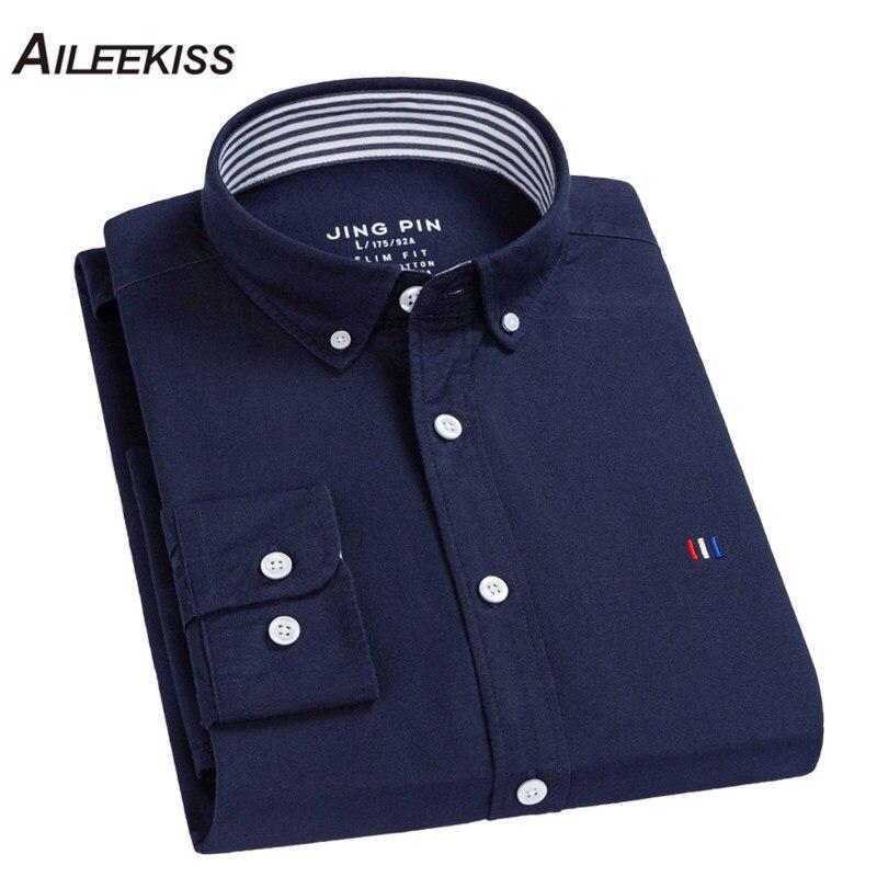 AILEEKISS 2019 100%Cotton Men Dress Shirts Plaid Soft Man Shirt New Spring Brand Mens Solid Casual Autumn XT786