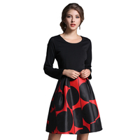 2017 New Arrival Autumn Women Dresses Black Polka Dot Pattern High Waist Female Vestido Zipper Slim Long Sleeves Mini Robe N611A