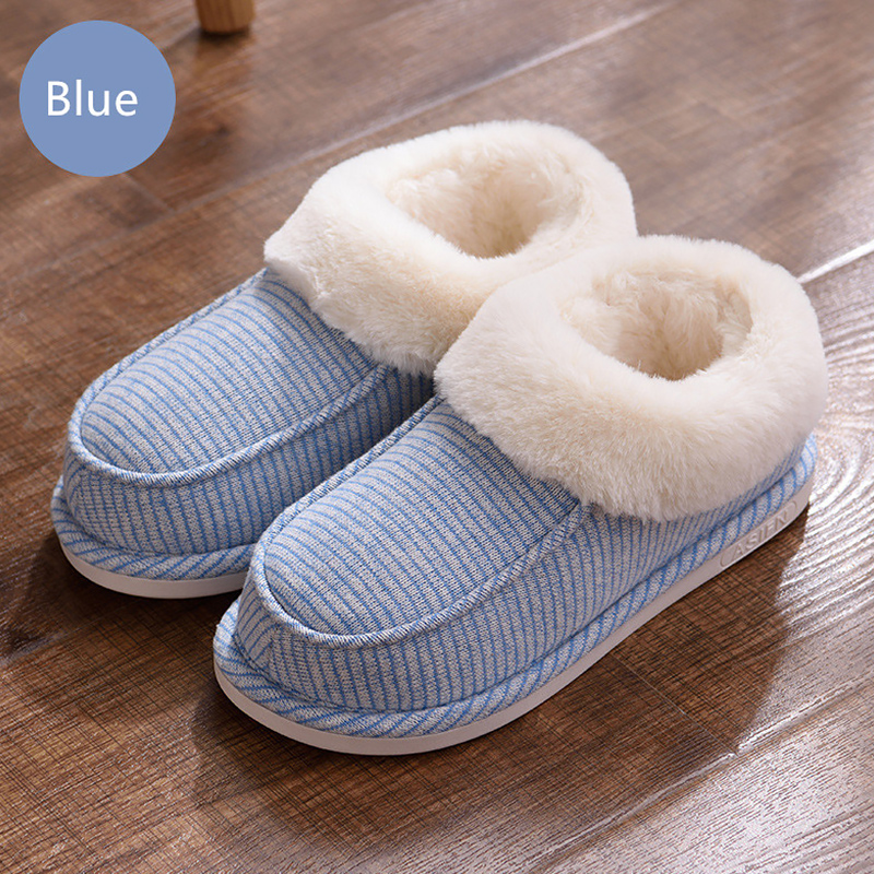 Women 39 s Boots Plus Size 43 46 PVC Striped Plush Warm Ankle Boots Ladies Slip On Cozy Winter Boots Woman Cotton Fabric in Ankle Boots from Shoes