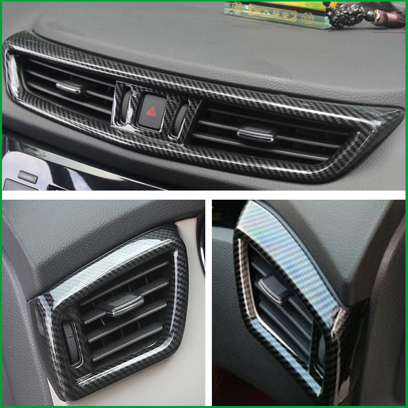 Car styling ABS plastic Carbon Fiber Print Interior Air Vent Outlet Cover Trim For 2015 2016
