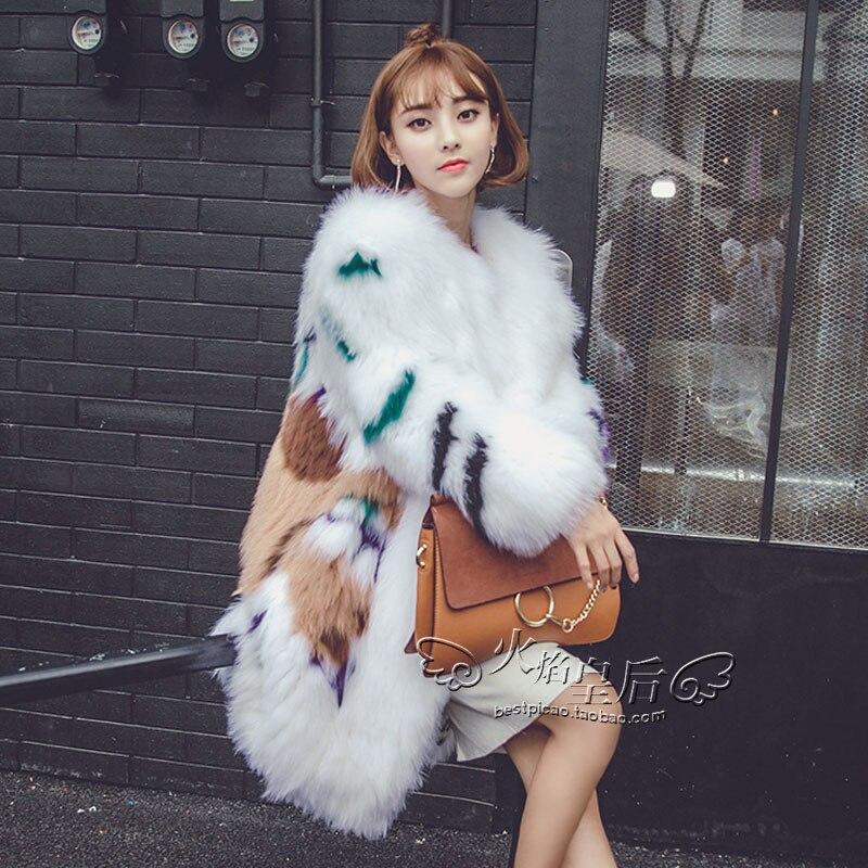 2017 New Womens Real Natural Fox Fur Coats Jackets A fox fur color white hair color woven white fox fur coat Medium length Tren