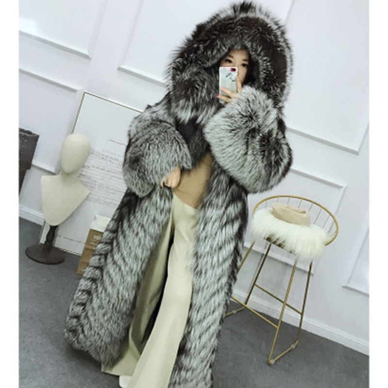 Top Grade Natural Real Fur Long Coat Women Loose Clothing Oversized Outerwear Good Quality Whole Skin Thick Warm Luxury Parka