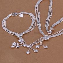 Серебро 925 набор украшений для женщин Мода сердце кулон ожерелье Браслеты 2 шт костюм, комплекты украшений Цена по прейскуранту завода