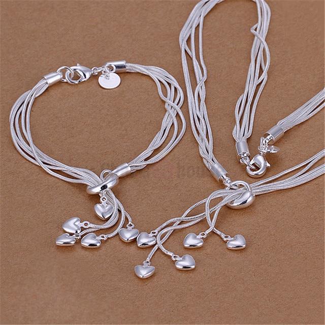 Silber 925 Schmuck für Frauen Fashion Herz Anhänger Halskette Armbänder 2 stücke Kostüm Schmuck Sets Neupreis Bijoux