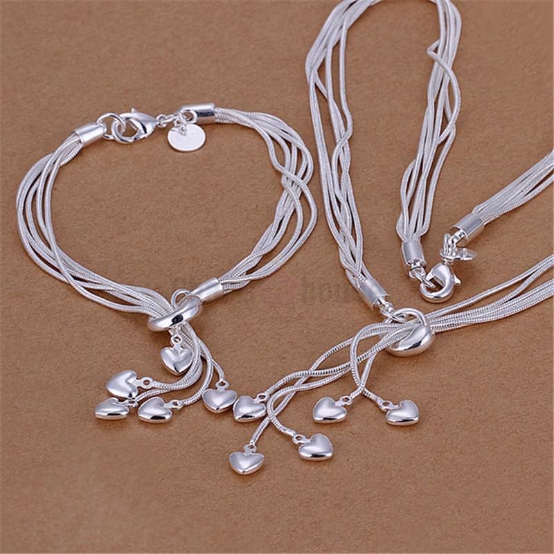 Silver 925 Jewelry Set for Women Fashion Heart Pendant Neckl