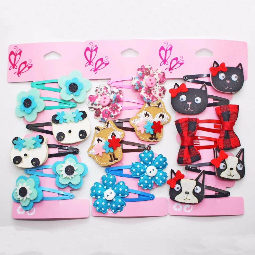 Wholesale 6 pcs/lot cotton flowers hairpins animals accessories snap hair clips fashionable hair accessories for little girls 24pc hair styling braid hair snap clips for girls headwear hair ornaments black snap hairgrips hairclip barrettes hairpins clips