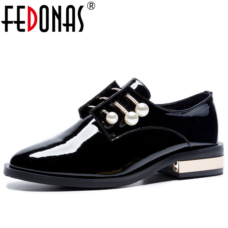 FEDONAS 1Fashion Women Basic Pumps Patent Leather Spring Autumn Square Heels Shoes Round Toe Bling Pearl