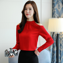 0a1bbb63d8dcdb Stand-Collar Strapless Long-Sleeved Bow Chiffon Shirt Women Bare Shoulder  Blouses Office Lady