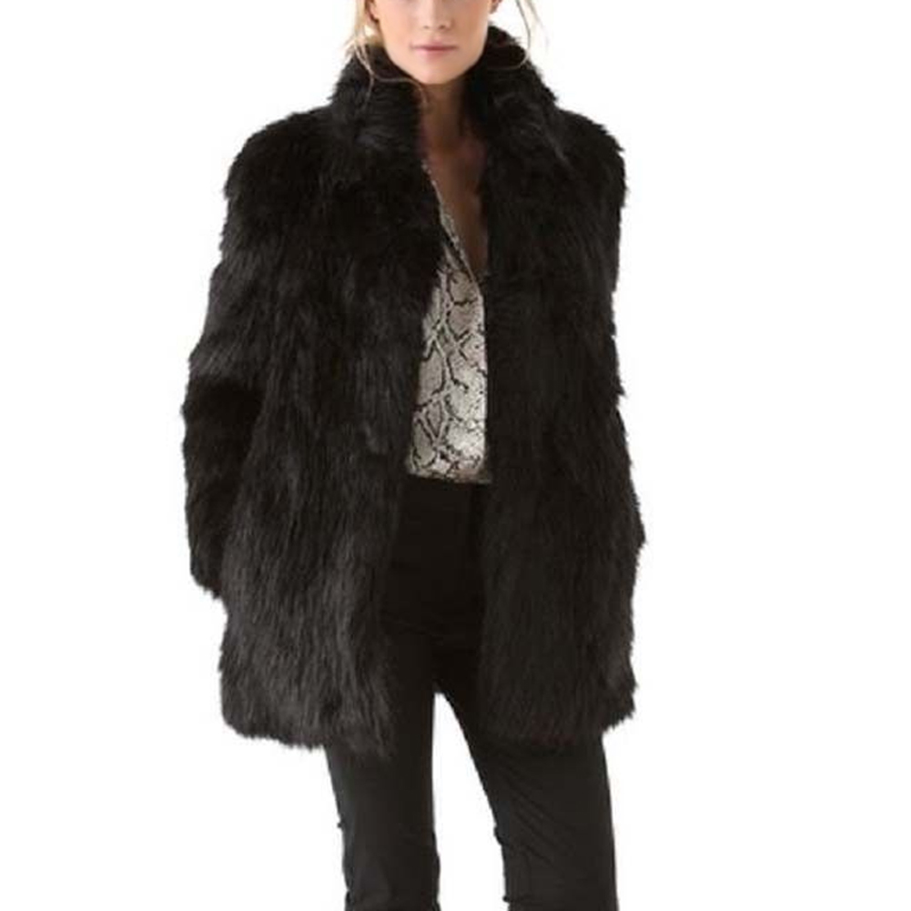 Women Winter Warm Faux Fur Coat Stand Collar Black Fluffy Long Sleeves Warm Female Tops TT@88