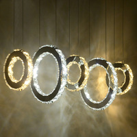 Modern Round Ring Crystal Pendant Lamp Dining Room Kitchen Island Suspended LED Crystal Light Hanging Circle LED Pendant Light