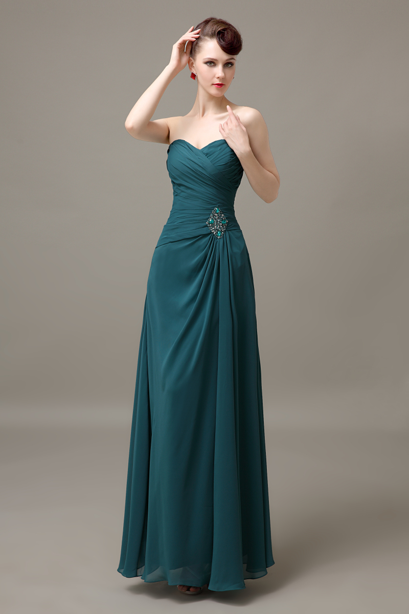 teal green sweetheart long cheap chiffon discount pleated bridesmaid ...