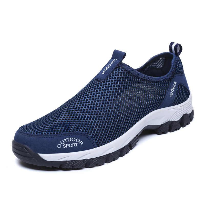 Мужская обувь; повседневные кроссовки из сетчатого материала; сезон лето-осень; модные мужские лоферы на резиновой подошве; большие размеры 48; дышащие мужские туфли на плоской подошве; Calzado De Hombre