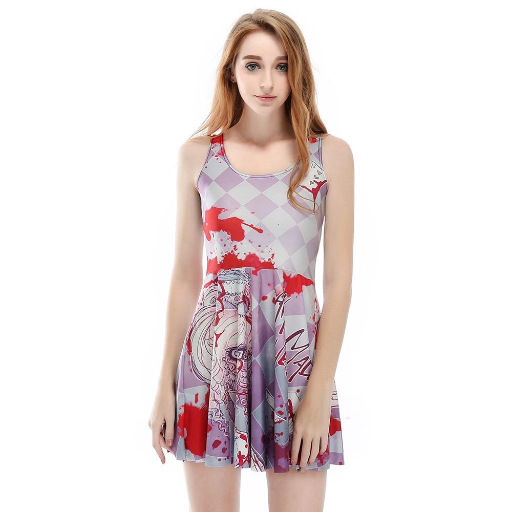 14085e0e76b72 Delle donne del fumetto della stampa digitale senza maniche abiti estivi  casual per la femmina sexy più il formato grande hem breve pieghettato  dress ...
