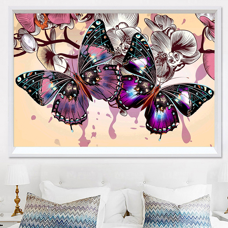 DIY 5D  Diamond Painting Animals Butterfly Mosaic Crystal Cross Stitch round diamond embroidery  Needlework Decor paintings ...