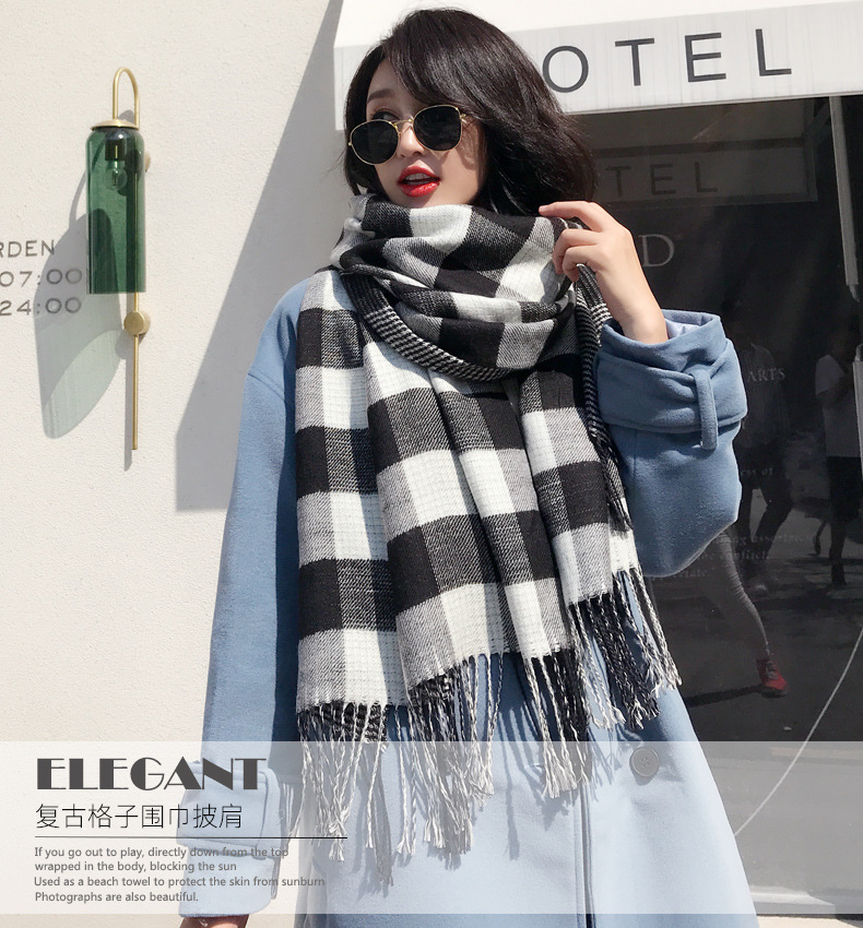 180*100cm Autumn Winter Female Plaid Scarf Women Cashmere Scarves Wide  Lattice Long Shawl Wrap Blanket Warm Tippet Drop Ship