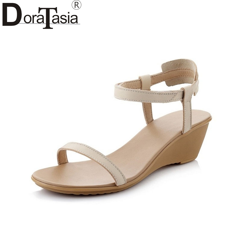 все цены на  DoraTasia Brand New Nature Cow Leather hook&loop Open Toe Woman Shoes Popular Rome Style Comfort Wedges Sandals Women  онлайн