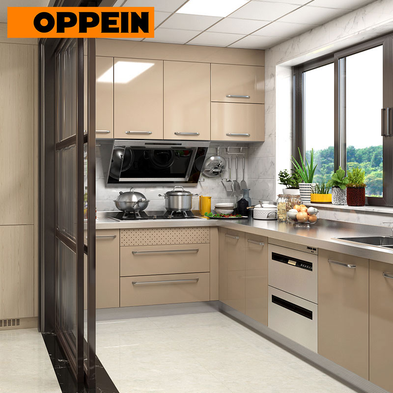 US $850.0 |OPPEIN Stainless Steel Modern Kitchen Cabinets for Sale (OP17  ST02)-in Kitchen Cabinets from Home Improvement on AliExpress