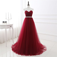 Dark Red Evening Dresses Net Pleat Custom Made Lace Up Back Prom Party Gown With Court