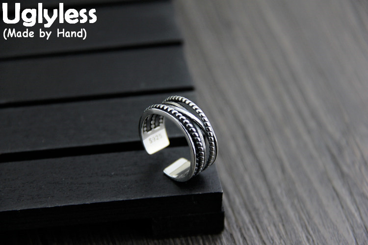 Uglyless Real S 925 Sterling Silver Unisex Twisted Designer Wide Open Rings Irregular Cross Patterns Neutral Finger Ring Jewelry