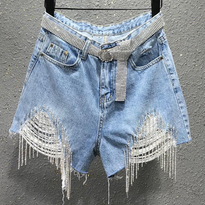 Plus Size 26-31!Tassel Rhinestone Hole High Waist Denim Shorts Women Summer Loose Wide Leg Jeans Shorts
