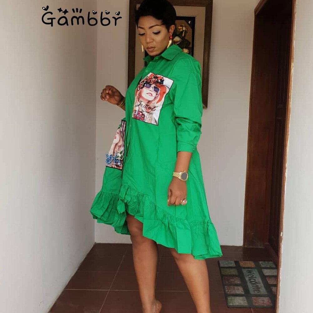 Plus Size African Clothing 2019 Summer African Print Fashion Beauty Head Beading Shirt Blouse Dress Women Cotton Irregular Dress