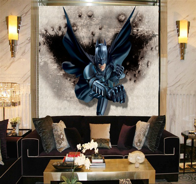 Batman wall mural decal superman logo stickers walmart for Batman mural wallpaper uk