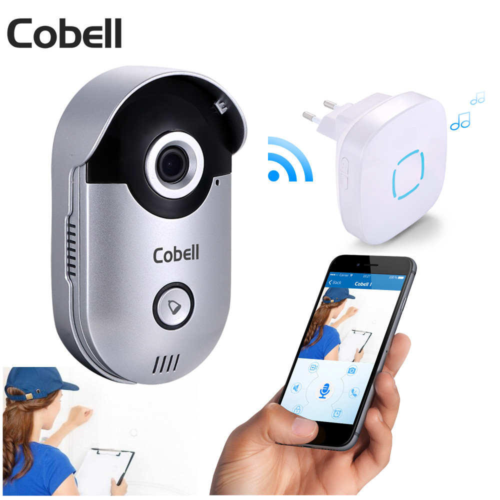 Cobell Wireless Video Door Phone Intercom HD 720P Wifi Doorbell IR Night Vision Motion Detection For Andriod IOS hd 720p wifi doorbell camera with motion detection ir alarm wireless video intercom phone control door phone for andriod ios