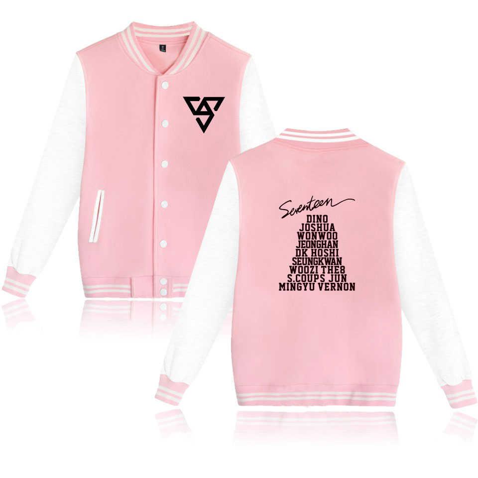 Seventeen17 хлопковая куртка пальто с принтом K поп Стиль одеть 17 карат Seventeen; Кей-поп Бейсбол форма