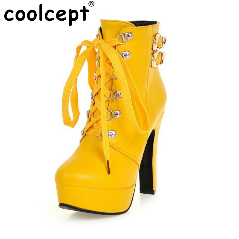 ФОТО Autumn Winter Women Round Toe Ankle Boots High Heels Lace Up Shoes Double Buckle Platform Short Martin Booties Size 33-43