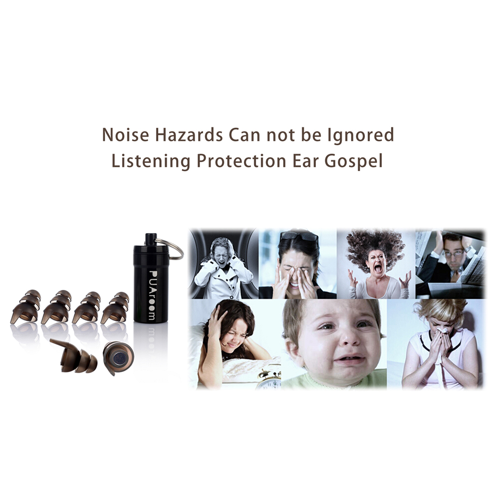 High Fidelity Ear plugs Silicone Noise Reduction Protection with 3 different Sizes For Sleeping Concert Travel Noise Scenes