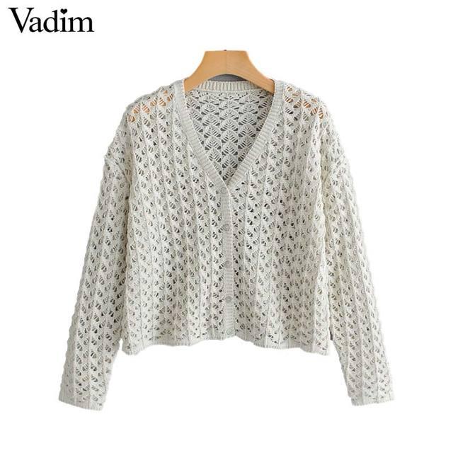 Vadim phụ nữ rắn dệt kim ngắn chiếc áo len hollow ra sexy V cổ độc ngực nữ thường mỏng outwear áo len HA397