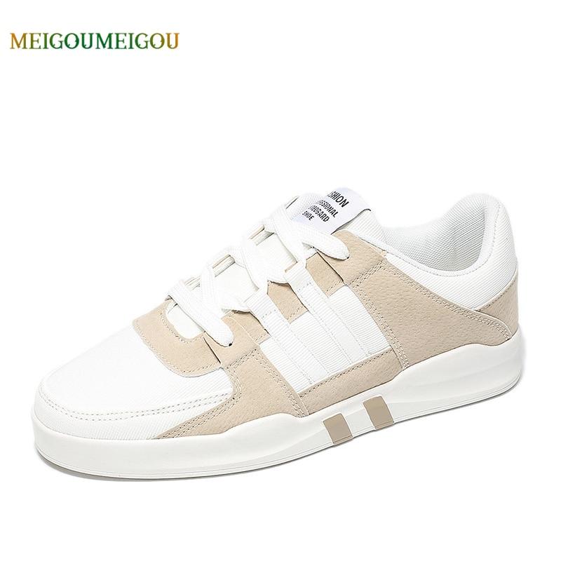 MEIGOUMEIGOU New Arrival Patchwork Lace-up Men Vulcanize Shoes Fashion Soft & Comfortable Casual Shoes Men Flat Cool Shoes Men цена