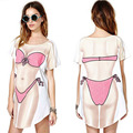 M-XXL Short Sleeve Summer Sexy Bikini Print T-shirt For Women Pullovers T Shirts Clothing