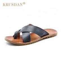 [KRUSDAN]Fashion Designer Retro Sandals 2017 New Men Casual Genuine Leather Slippers Summer Solid Color Men Beach Shoe Free Ship