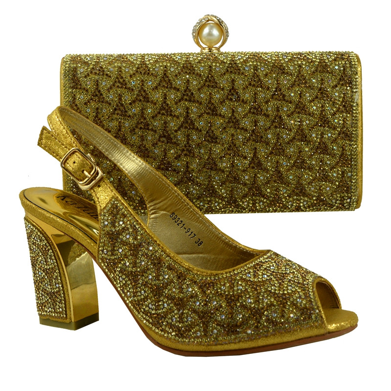 (89231-917) Gold Italian shoes and bags to match women/italian shoes with matching bag For High Quality PU material