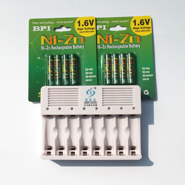 ФОТО New Power 8Pcs 1000MWH NiZn 1.6V AAA Rechargeable Battery batteries + 8 ports Ni-Zn NiMH AA AAA battery smart Charger