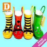 NEW 2015 Children Rain Boots Cartoon Kids Rubber Boots Bee Frog Beatles Girls Shoes Flat Rainboots