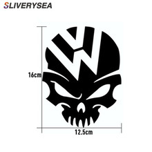SLIVERYSEA 16*12.5CM Evil Skull Scary Face Car Stickers Funny Motorcycle Vinyl Decals Black / Silver #B1323