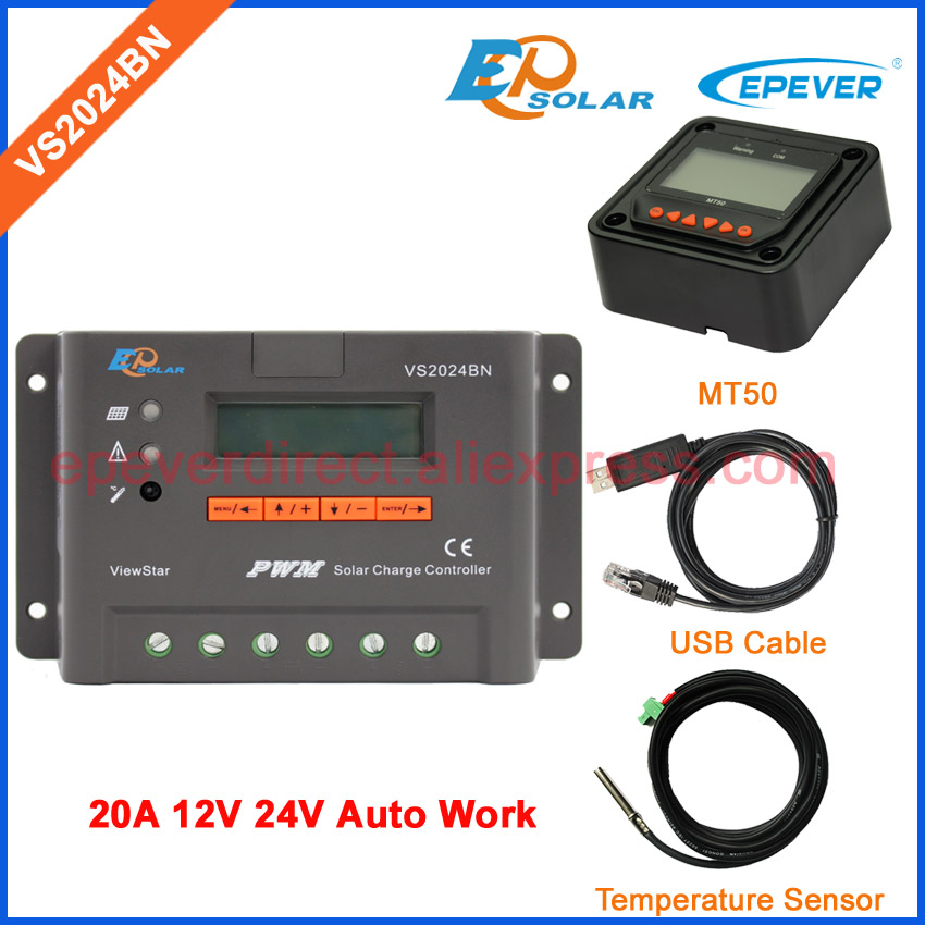 PWM EPEVER Solar charging controller New series VS2024BN USB and temperature sensor cables EPSolar 20A MT50 remote meter 20a 12 24v solar regulator with remote meter for duo battery charging