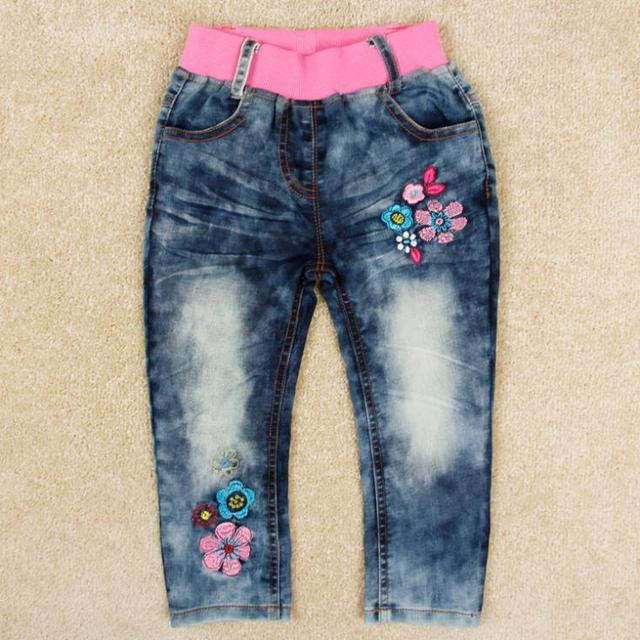 9785d35a4ca9 New arrival Girls jeans spring antumn kids wear embroidered flower ...