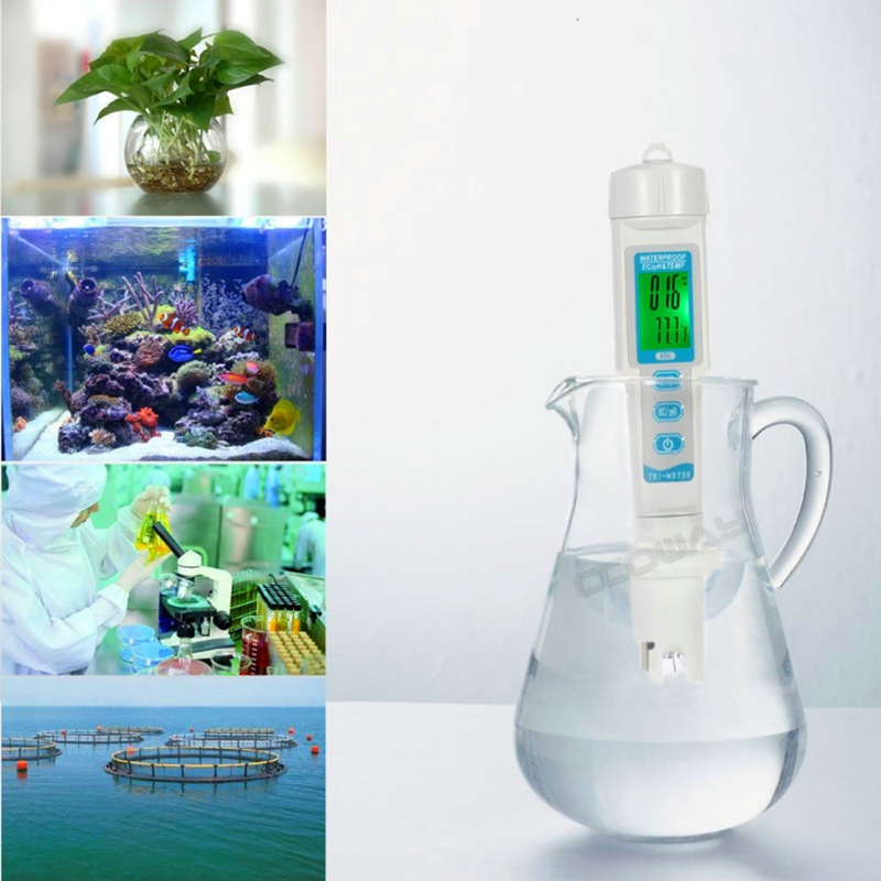 3in1 Waterproof EC pH TEMP Meter Water Quality Analyzer LCD Aquarium Hydroponic Spa Swim Pool ph Ec Temperture Tester Backlit цена