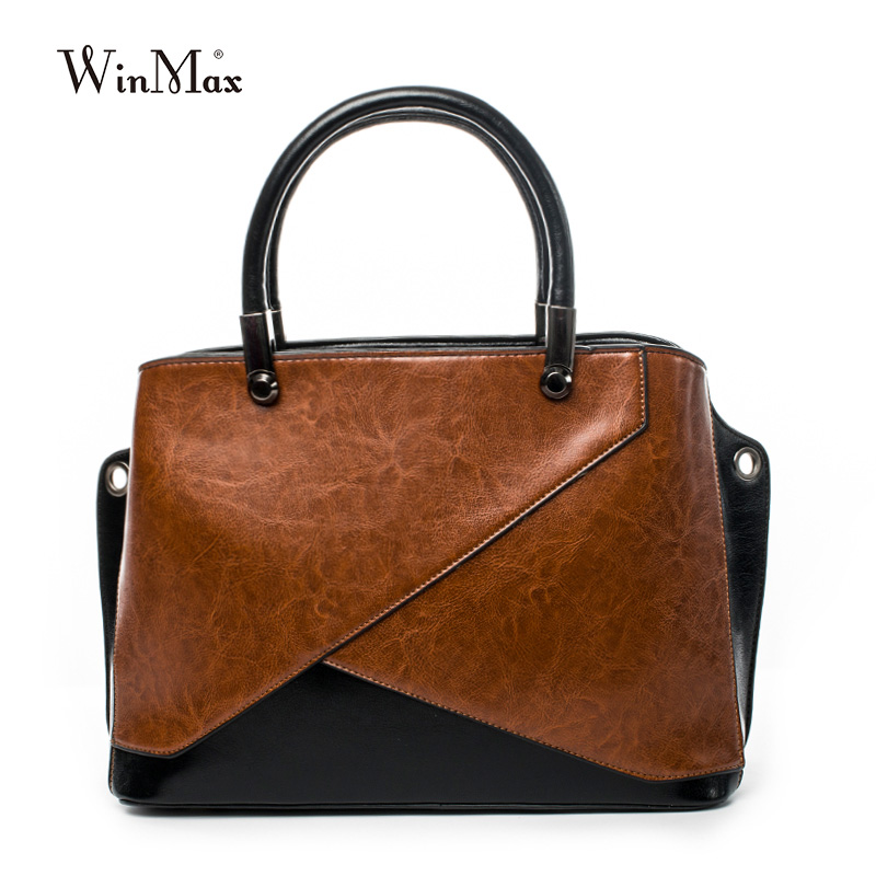 New Women Genuine Leather Handbags Panelled Shoulder Bag Quality Women's Cow Leather Tote Bags Female Vintage Handbag Sac a Main esufeir brand genuine leather women handbag cow leather patchwork shoulder bag fashion women messenger bag tote bags sac a main