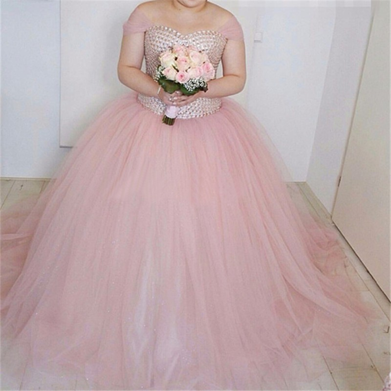 Pink Tulle Wedding Gown: Vestido De Noiva Glamorous 2016 New Sexy Lovely Pink