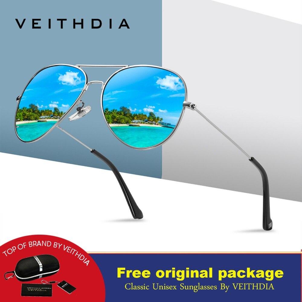 VEITHDIA Gafas de sol polarizadas de moda clásica Hombres / Mujeres Lentes de recubrimiento reflectantes de colores Accesorios para gafas Gafas de sol 6026